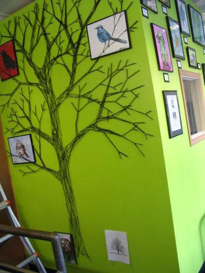 Duvara iplikten ağaç